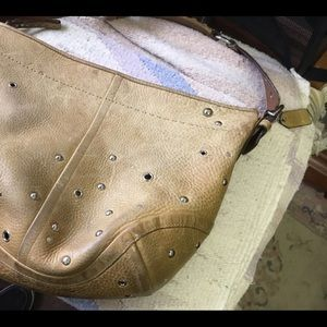 Coach heavy leather hobo bag with silver studs